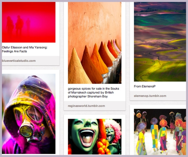 Extreme colour board on Pinterest