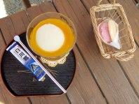 Mango icecream float, strawberry wafer